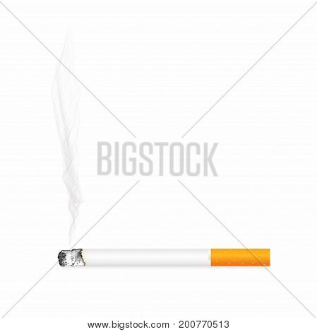 Cigarette With Ash And Smoke Isolated On Background. Realistic Smoldering Cigarette, Close Up View