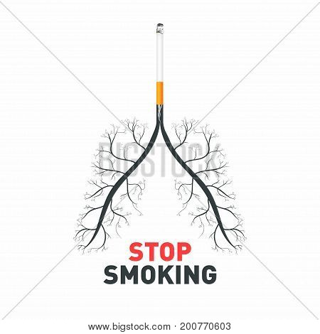 Stop Smoking. Cigarette With Human Lungs. No Smoking Awareness, Poison And Diseases Of Cigarette