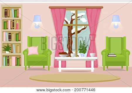 The interior of the living room. Cozy living room with furniture a winter landscape the first snow falls. Cartoon. Vector illustration.