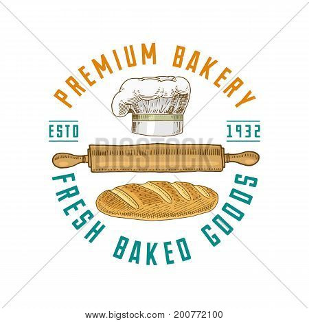 Rolling pin and Chef with loaf or kitchen, cooking stuff for menu decoration. logo emblem or label, engraved hand drawn in old sketch or and vintage style. premium bakery fresh baked goods