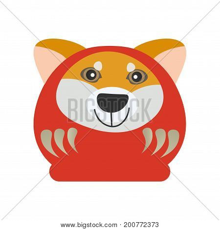Cute Japanese Traditional Daruma Doll with a Shiba Inu dog face. Great as vector illustration for New Year of The Dog. Happy Daruma, known also as Dharma made in a cartoon style.