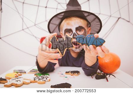 happy little boy prepare for Halloween party