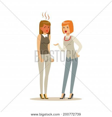 Two young businesswomen characters arguing and yelling on each other, negative emotions concept vector Illustration on a white background
