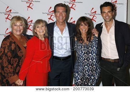 LOS ANGELES - AUG 19: Beth Maitland, Marla Adams, Peter Bergman, Jess Walton, Jason Thompson at the Young and Restless Fan Event 2017 at the Burbank Convention Center on August 19, 2017 in Burbank, CA