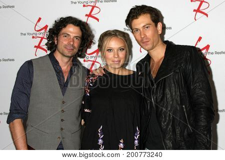 LOS ANGELES - AUG 19:  Daniel Hall, Melissa Orday, Ryan Ashton at the Young and Restless Fan Event 2017 at the Marriott Burbank Convention Center on August 19, 2017 in Burbank, CA