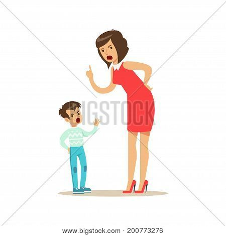 Mother yelling at her son, negative emotions concept vector Illustration on a white background