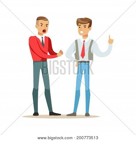 Two young men fighting angry and shouting at each other, negative emotions concept vector Illustration on a white background