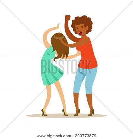 Two furious women characters fighting and quarelling, negative emotions concept vector Illustration on a white background