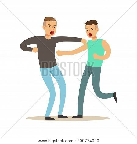 Two furious men characters fighting and quarelling, negative emotions concept vector Illustration on a white background