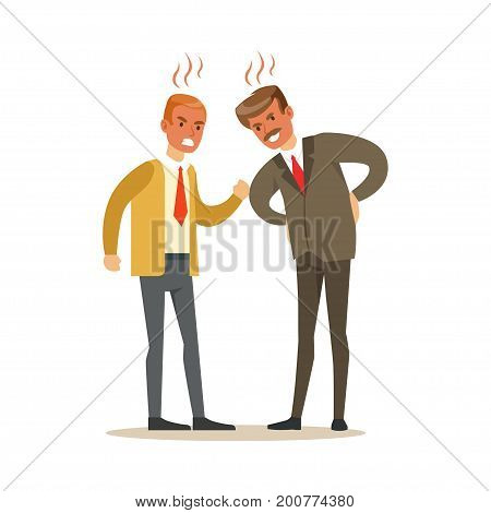 Two businessmen characters fighting angry and shouting at each other, negative emotions concept vector Illustration on a white background