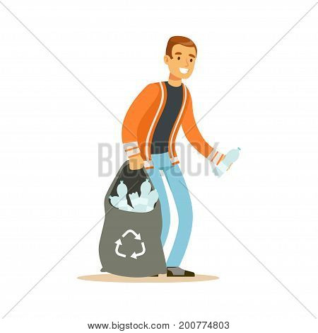 Smiling man gathering garbage and plastic bottles, waste recycling and utilization concept vector Illustration on a white background