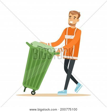 Smiling street cleaner man in a orange uniform taking out a container with garbage, waste recycling and utilization concept vector Illustration on a white background