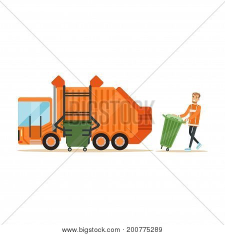 Garbage truck driver loading recycle bin into garbage collector truck, waste recycling and utilization concept vector Illustration on a white background