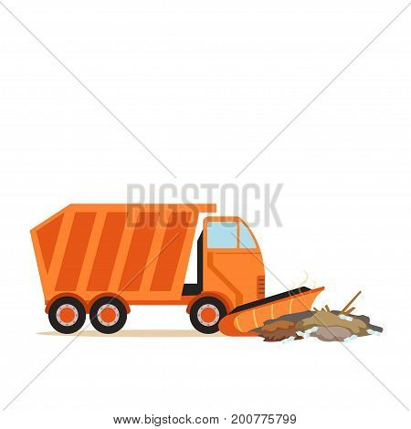 Orange truck plowing garbage, waste recycling and utilization concept vector Illustration on a white background