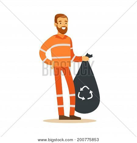 Street cleaner man in a orange uniform holding black bag with garbage, waste recycling and utilization concept vector Illustration on a white background