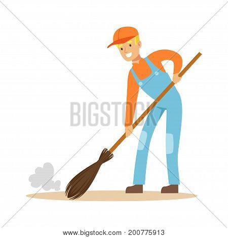 Smiling street sweeper at work, street cleaner character vector Illustration on a white background