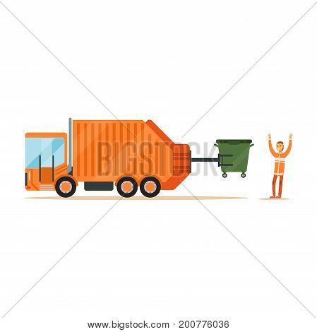 Worker in orange uniform loading recycle bin into garbage collector truck, waste recycling and utilization concept vector Illustration on a white background