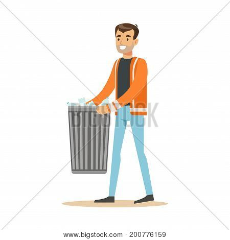 Smiling man arrying garbage bin, waste recycling and utilization concept vector Illustration on a white background