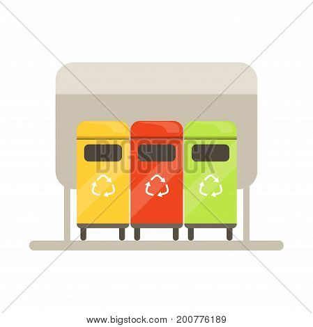 Colorful trash recycling containers, rubbish bins row, waste recycling and utilization concept vector Illustration on a white background