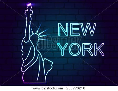 Neon statue of liberty with the inscription new York on a brick wall. Vector illustration.