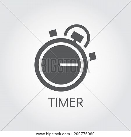 Timer icon drawing in flat style. Black graphic symbol of timepiece, deadline, business accuracy and precision cooking themes. Vector illustration