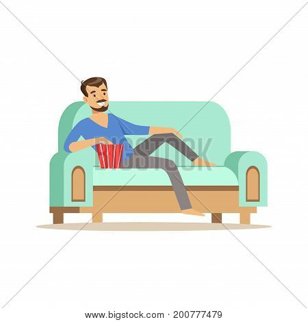 Young smiling bearded man lying on a ligh blue sofa, watching TV and eating popcorn, male resting at home vector Illustration isolated on a white background