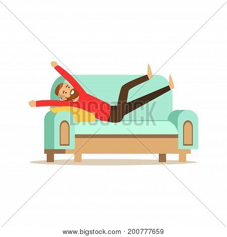 Young smiling bearded man lying on a ligh blue sofa and resting at home vector Illustration isolated on a white background