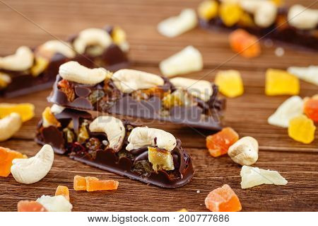 Chocolate Bars With Cashew And Candied Fruits