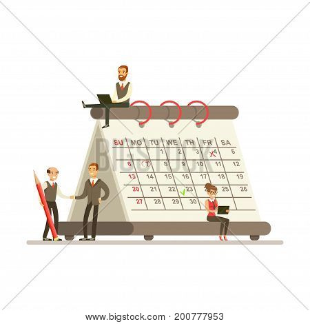 Micro young busineswomen and businesmen sitting on a giant paper calendar, business team working together planning and scheduling their operations vector Illustration on a white background