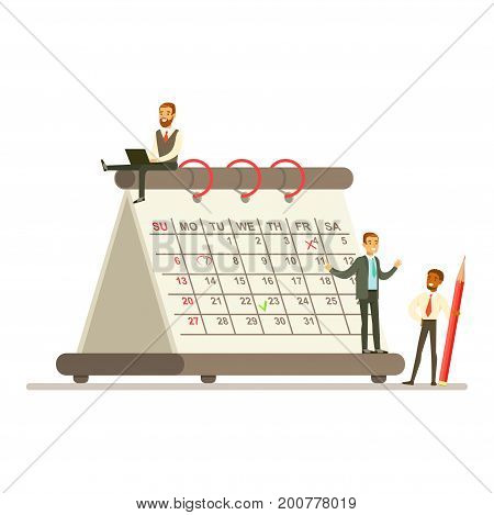 Micro young businesmen wotking next to a giant paper calendar, business team working together planning and scheduling their operations vector Illustration on a white background