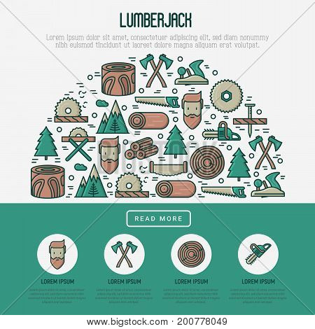 Logging and lumberjack with beard concept in half circle and related thin line icons: jack-plane, sawmill, forestry equipment, timber, lumber. Vector illustration for banner, web page, print media.