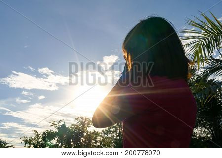 Asian woman in hot summer - heat stroke concept