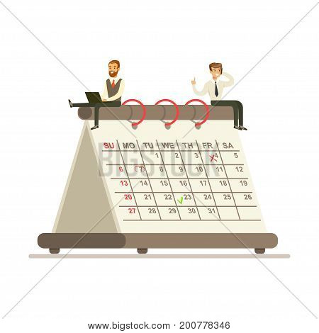 Micro businesmen sitting on a giant paper calendar, business team working together planning and scheduling their operations vector Illustration on a white background