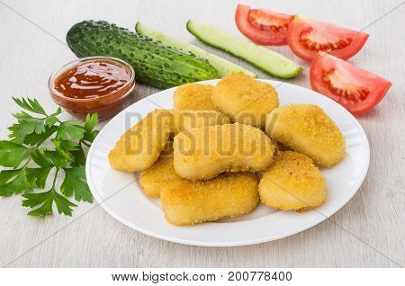 Chicken Nuggets In Plate, Vegetables, Bowl With Ketchup, Parsley