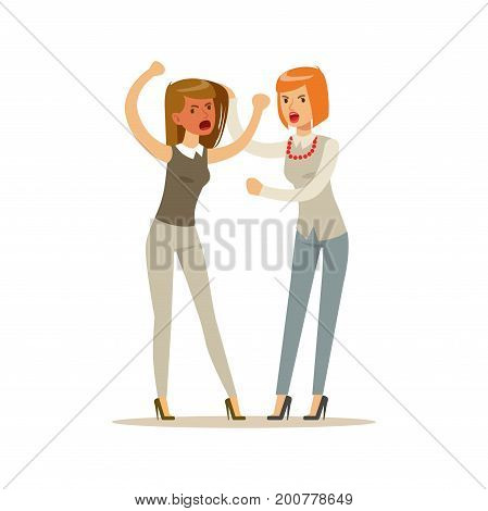 Two young businesswomen characters fighting and quarelling, negative emotions concept vector Illustration on a white background