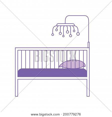 purple silhouette of baby crib with wood railing vector illustration