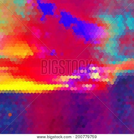 Abstract landscape of hexagons. Red, blue, purple and yellow dramatic sky resembling sunset