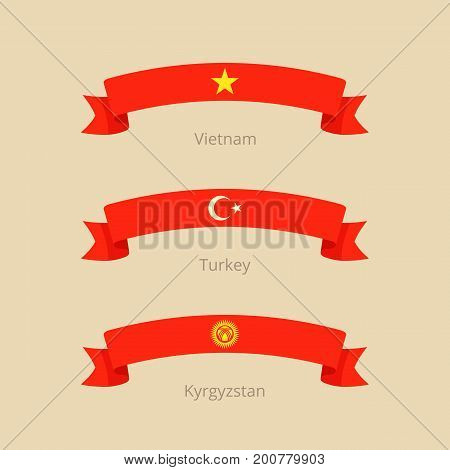 Ribbon With Flag Of Vietnam, Turkey And Kyrgyzstan.