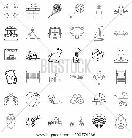 Newborn icons set. Outline style of 36 newborn vector icons for web isolated on white background