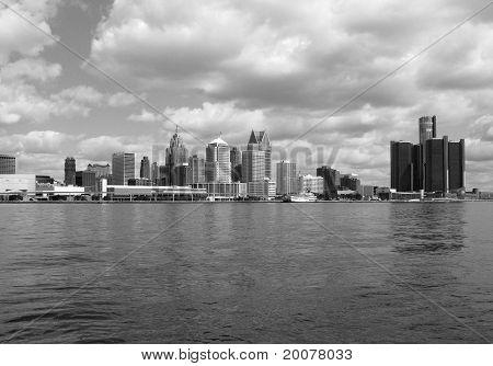 Detroit Skyline BW