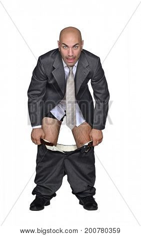 Businessman take down pants isolated on white background.