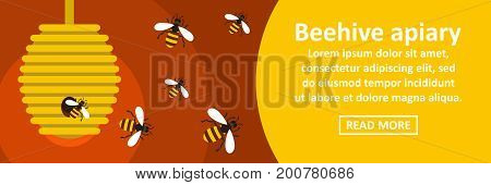 Beehive apiary banner horizontal concept. Flat illustration of beehive apiary banner horizontal vector concept for web