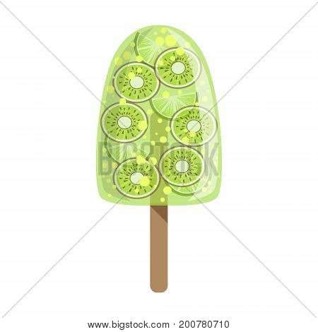 Kiwi And Lime Fruit Ice-Cream Bar On A Stick, Colorful Popsicle Isolated Cartoon Object. Cold Sweet Dessert Frozen Sherbet Cute Childish Vector Icon.