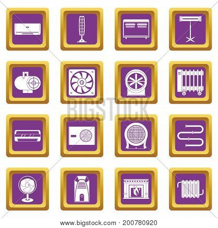 Heating cooling air icons set in purple color isolated vector illustration for web and any design