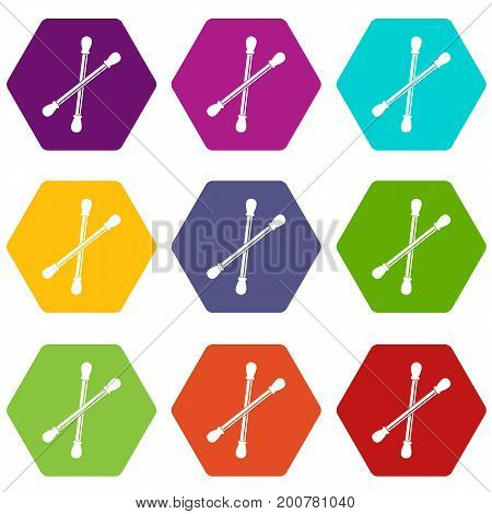 Cotton buds icon set many color hexahedron isolated on white vector illustration