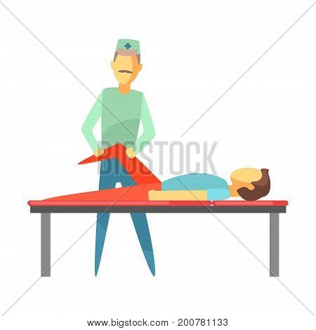 Doctor examining leg of young man lying on a bed. Medical care concept. Colorful cartoon characters isolated on a white background