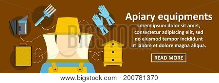 Apiary equipments banner horizontal concept. Flat illustration of apiary equipments banner horizontal vector concept for web