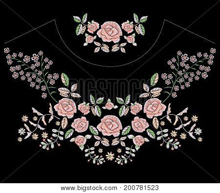Embroidery folk neckline pattern with simplified tender roses. Vector embroidered floral patches with flowers for clothing design.