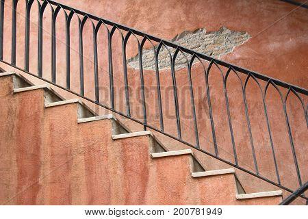 Brick stairs way up at vintage style