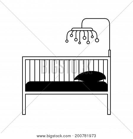 black silhouette of baby crib with wood railing vector illustration